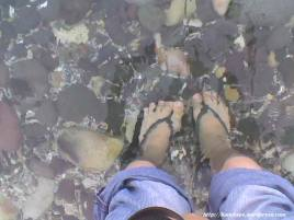 wading on the shore of Corregidor's South Beach